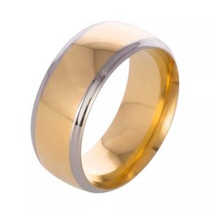 Stainless Steel Gold & Silver Smooth Ring Size 13